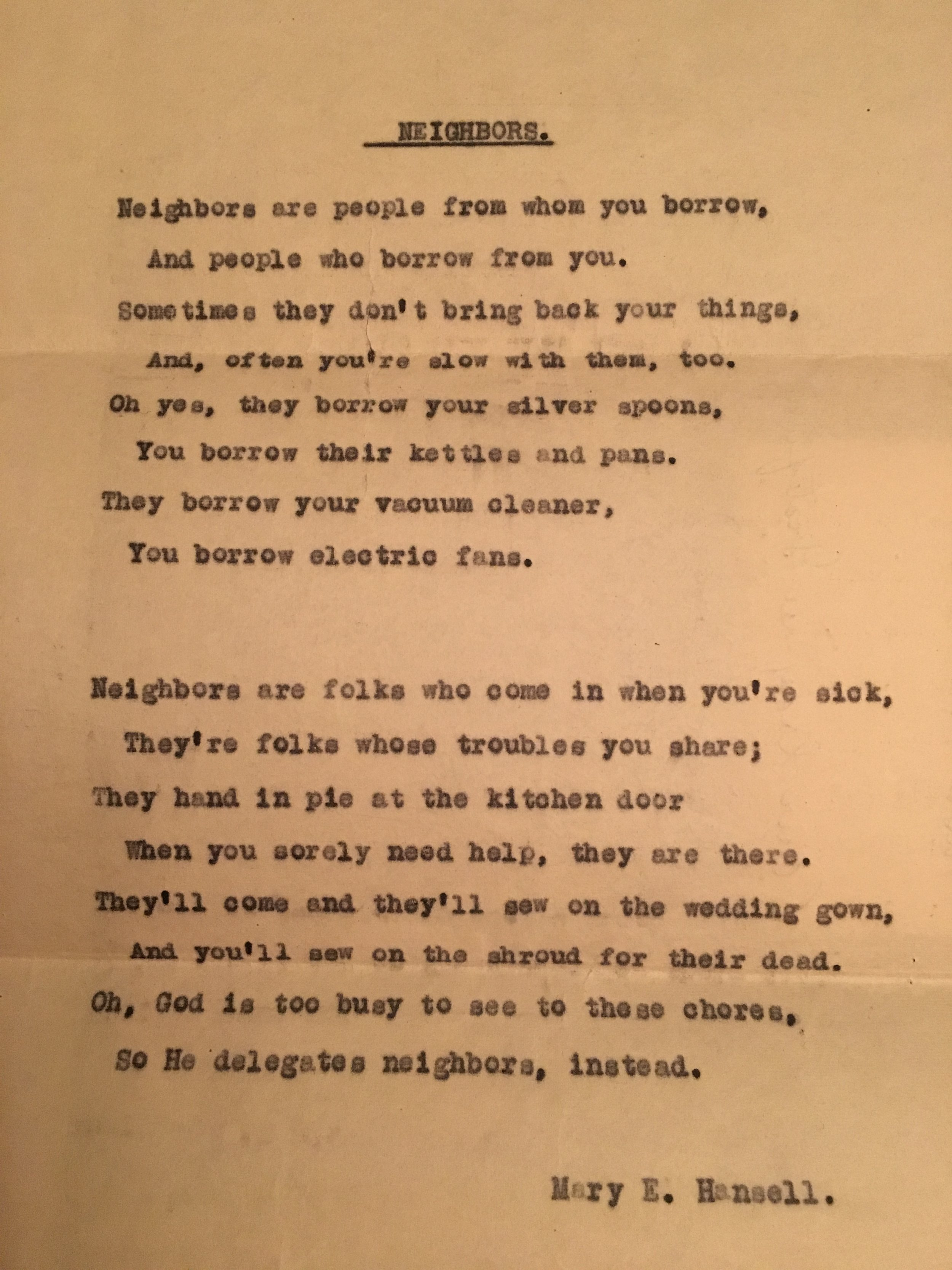 """Written by Mary Hansell a """"lady"""" of Grateful Daughters"""