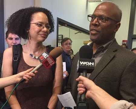 Lesley Williams, Head of Adult Services at Evanston Public Library with Rev. Dr. Michael Nabors, Senior Pastor at Second Baptist Church of Evanston and President of Evanston/North Shore NAACP (  📷 : Heidi Levin)