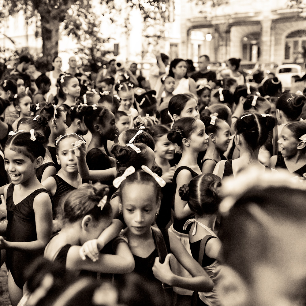 A new generation of young students outside Cuba's national ballet school.