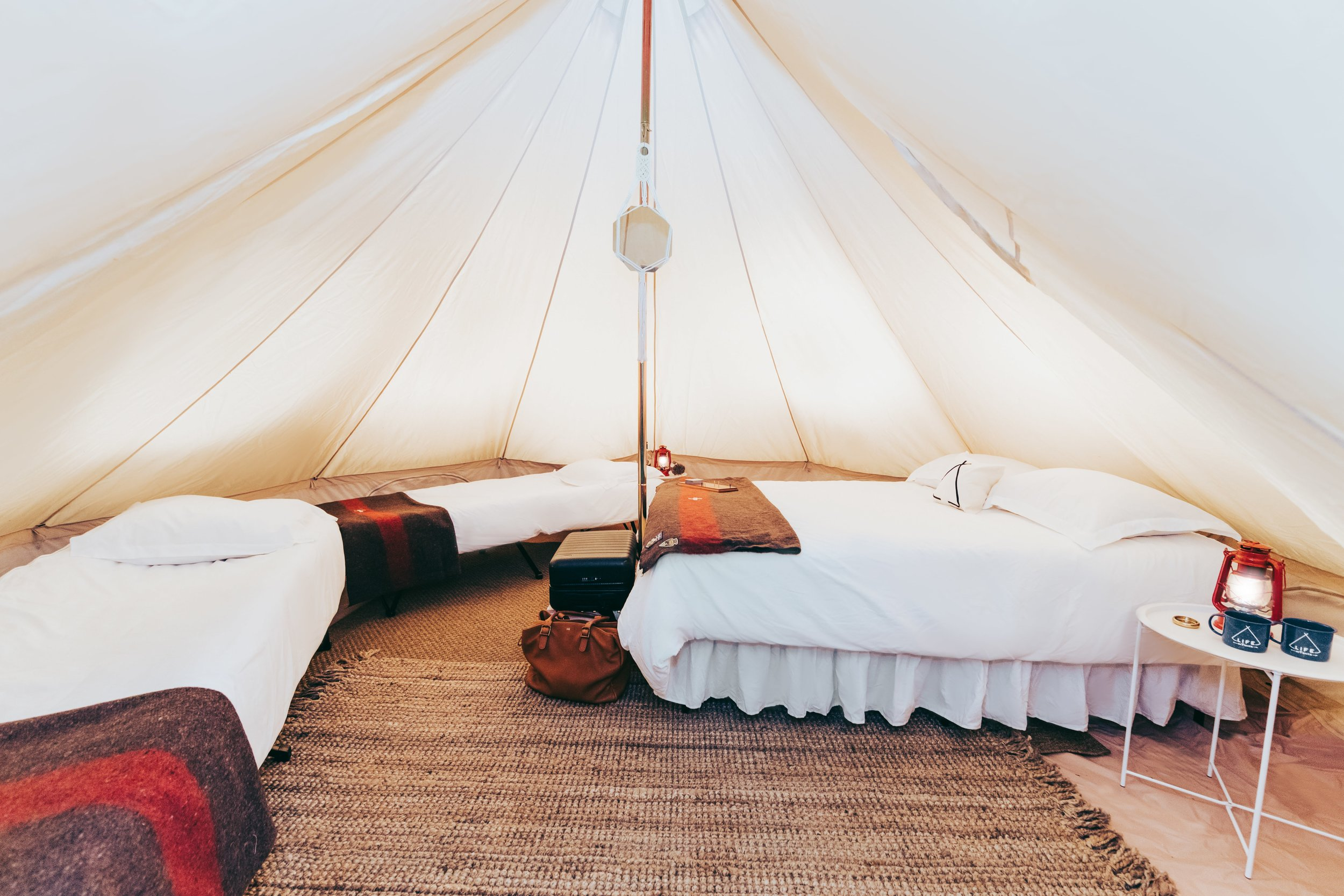 Add 2 cots to your glamping tent