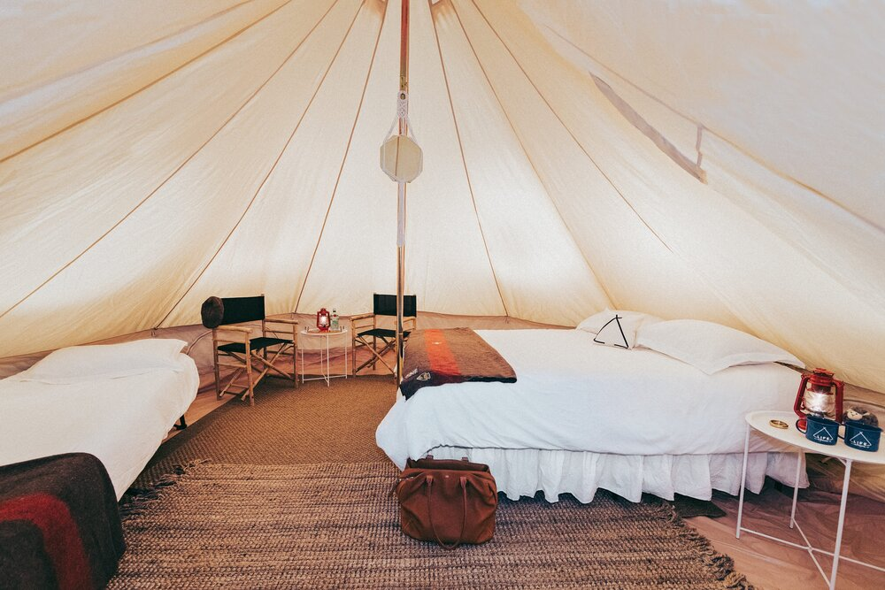OUr waterproof glamping tents can sleep 4 people in bed or 8 in sleeping bags and quick to set Up.