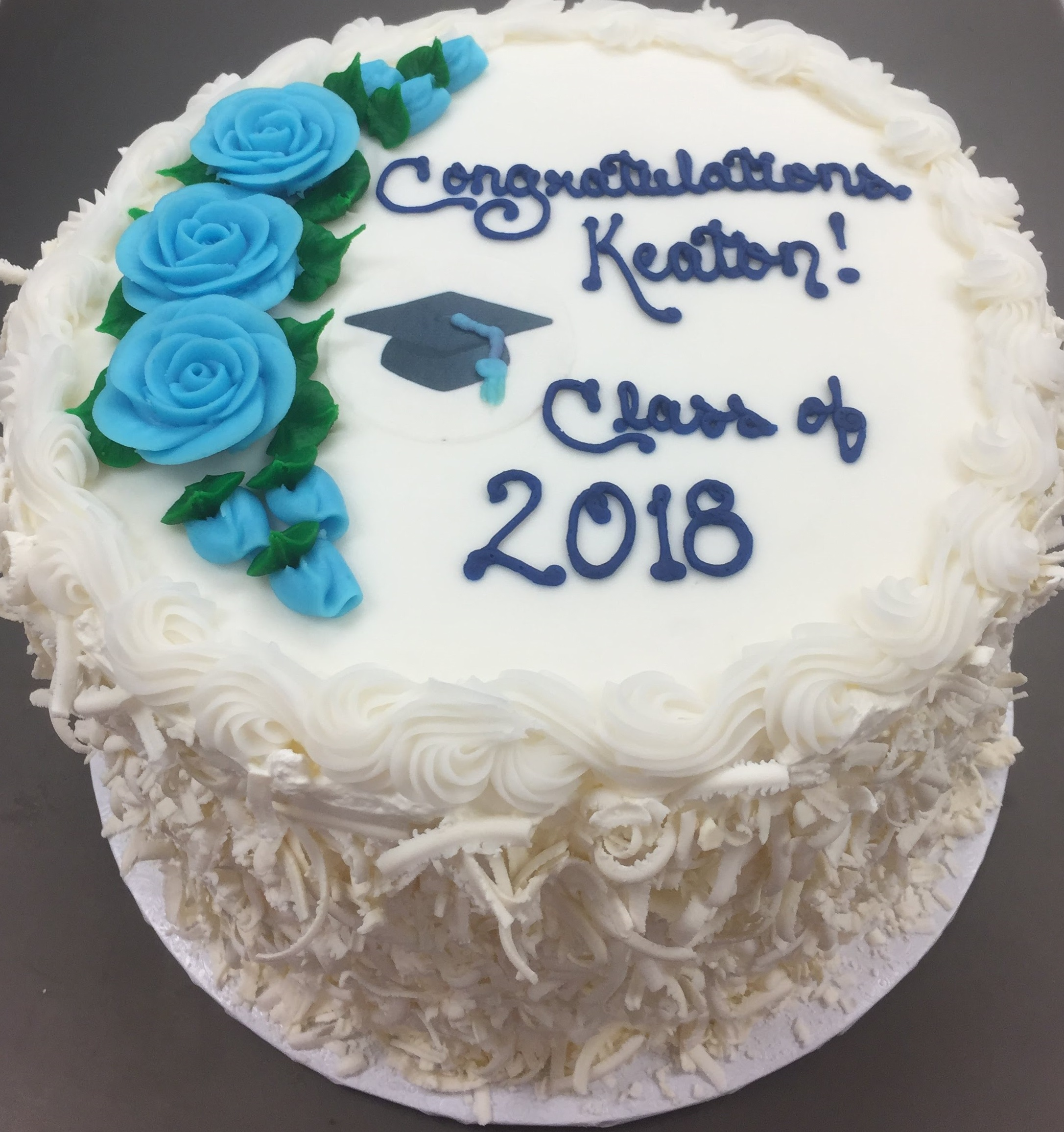Simple Grad design with roses and edible image cap   (Buttercream top with Signature Sides)