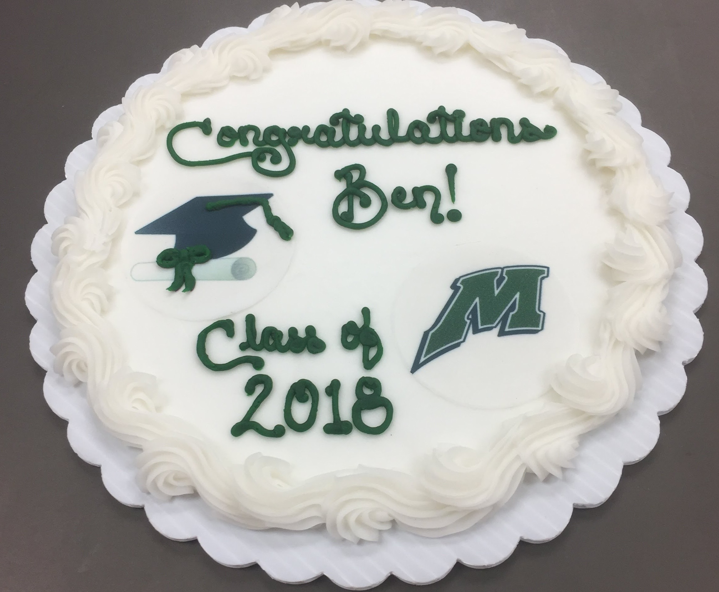 Simple Grad design with edible image cap & diploma combo and Motion M  -   If you want your school represented, please send image file to info@craigscakeshop.com