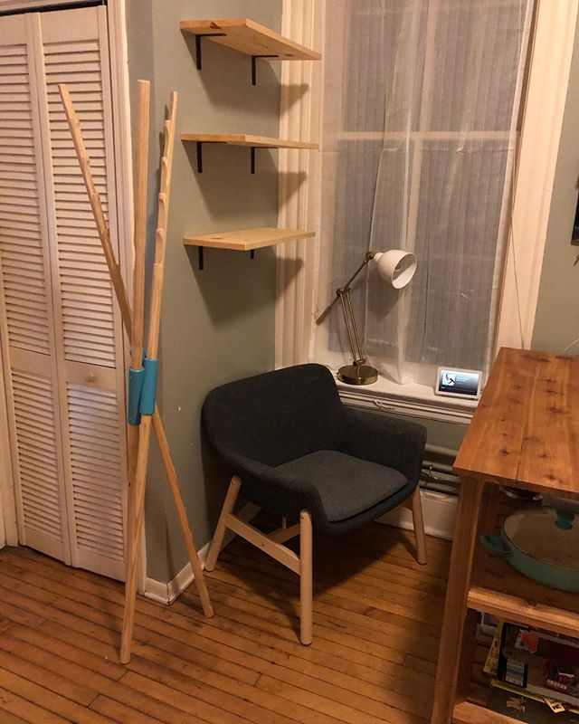 I also designed this stand up clothes drying rack for us and Tessie cut us some new shelves for our little kitchen corner!