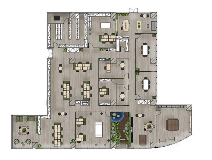 Rendered floor plan -