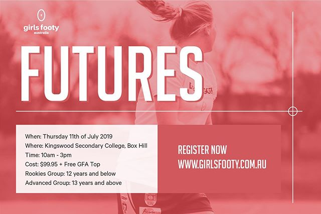 FUTURES HOLIDAY SKILLS INTENSIVE ⠀⠀⠀⠀⠀⠀⠀⠀⠀ What's included ? -Be coached by AFL Women's players from clubs such as Melbourne Football Club, Collingwood FC Womens Teams AFL & VFL North Melbourne AFLW and Western Bulldogs AFLW -Improve your football fundamentals with safe and correct technique -Learn new skills to make your football stand out -Develop your game sense and knowledge -Have lots of fun and make new friends ⠀⠀⠀⠀⠀⠀⠀⠀⠀ When: Thursday 11th of July 2019 Where: Kingswood Secondary College, Box Hill Time: 10am - 3pm Cost: $99.95 + Free GFA Top Rookies Group: 12 years and below  Advance Group: 13 to 18 years old ⠀⠀⠀⠀⠀⠀⠀⠀⠀ Register https://www.girlsfooty.com.au/register/futures-holiday-skills-intensive-11th-july