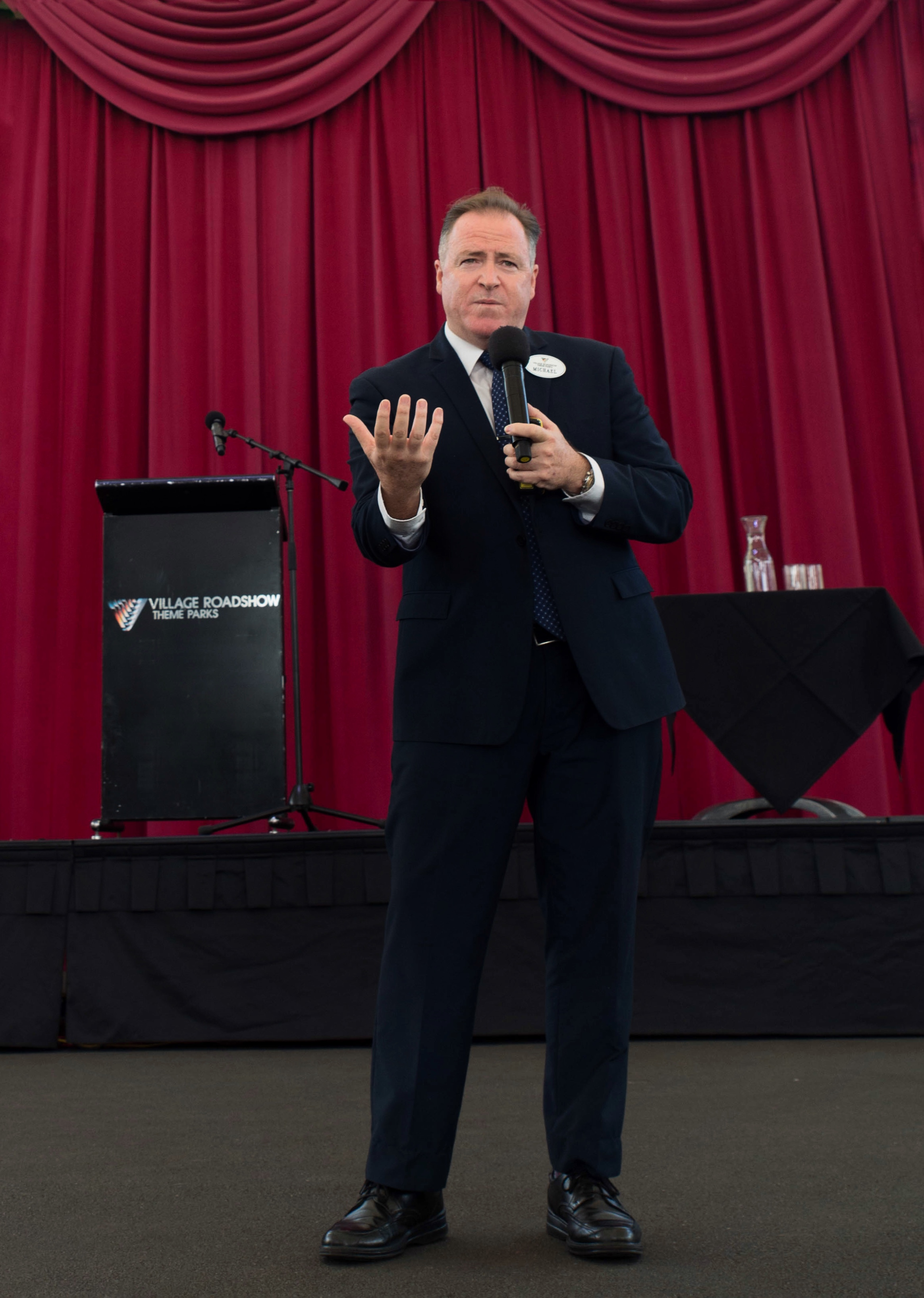 Michael guest speaking at the March WOMEN IN TOURISM Breakfast at Warner Bros. Movie World.