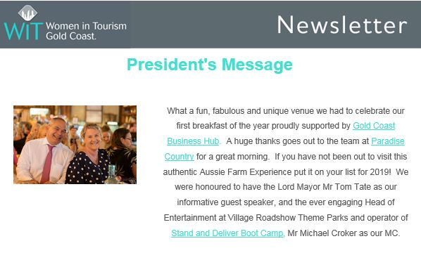 Michael was fortunate enough to act as Emcee and be introducing Gold Coast Lord Mayor, Tom Tate, as part of the February Networking Breakfast for Women in Tourism.
