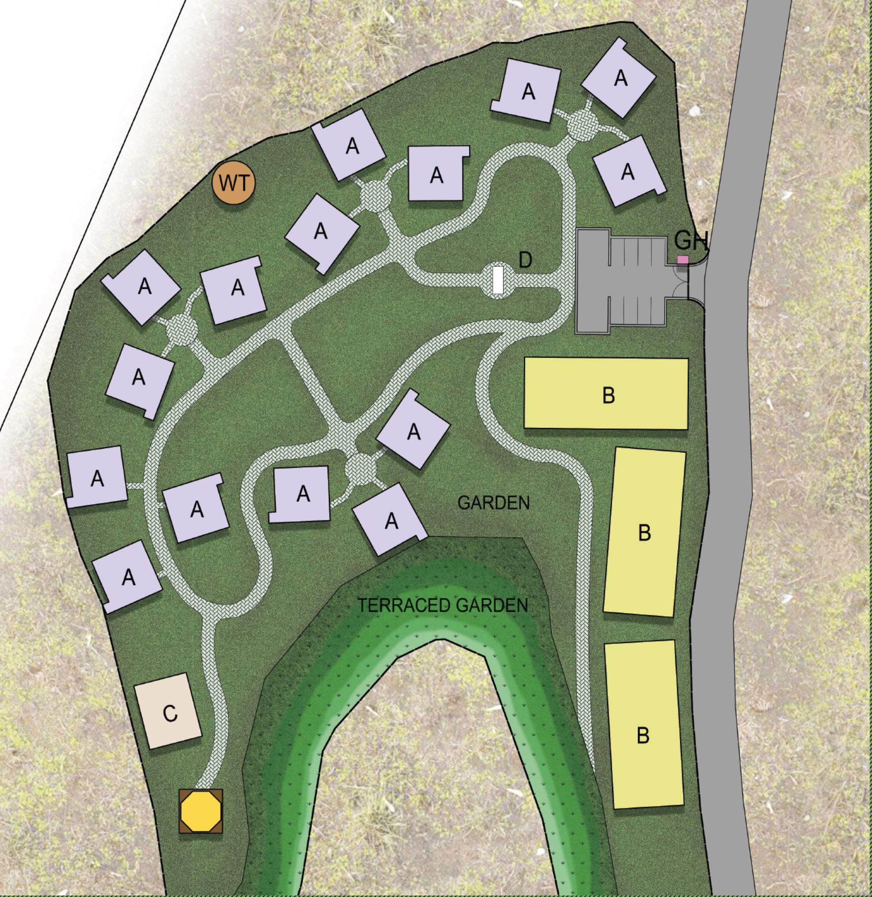 The layout of the Hope Mountain Center.