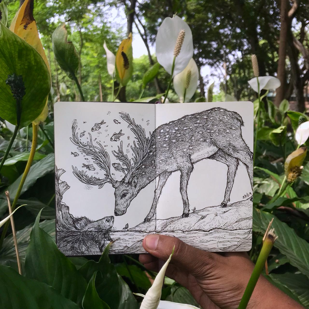 Goutham is a talented sketch artist who is passionate about the planet. When and where ever he can, he advocates no plastic and taking care of our environment. He sketched this beautiful Deer during a photowalk I recently conducted in Bangalore. He asked me to write a poem for his sketch and this is what I wrote -