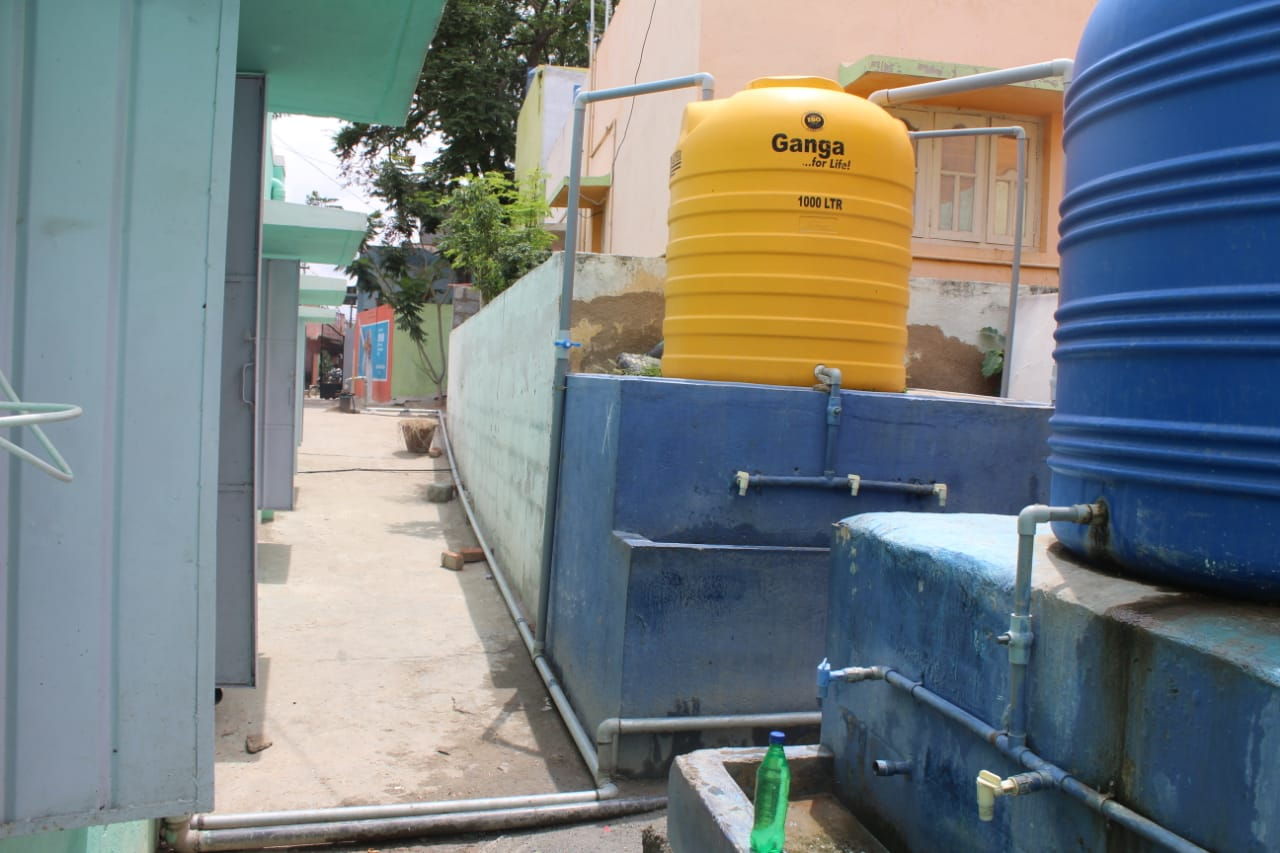 Water storage tank at Kamandoddi School, connected to newly fitted bore well and pump