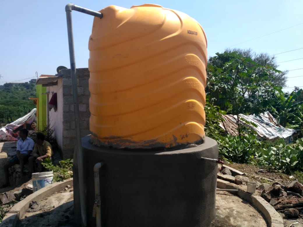 Replacement Tank built with Salt of the Earth donations. The newly fitted pipes enable water for the village.
