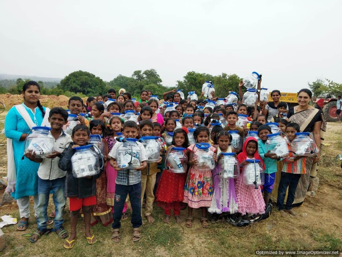 Sawyer water purification kits provided to children and their families by Salt of the Earth donations.
