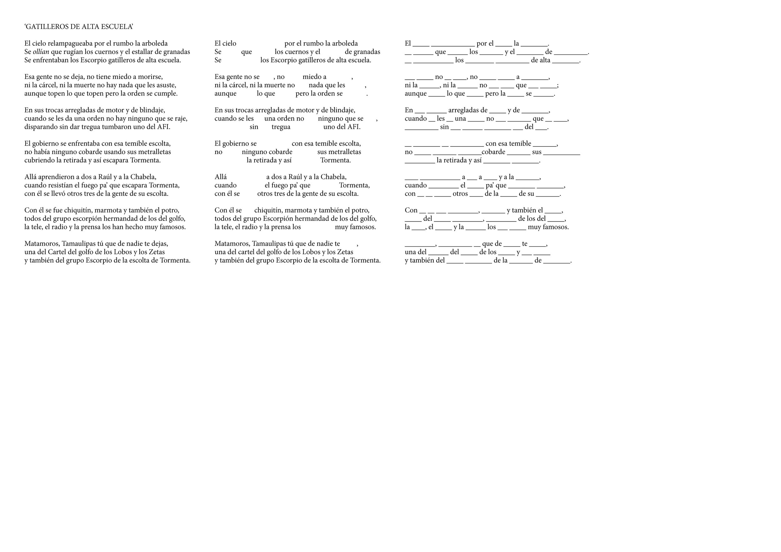 Anecdotario Breve (Brief collection of anecdoctes) syntactic exercise, song deconstruction.