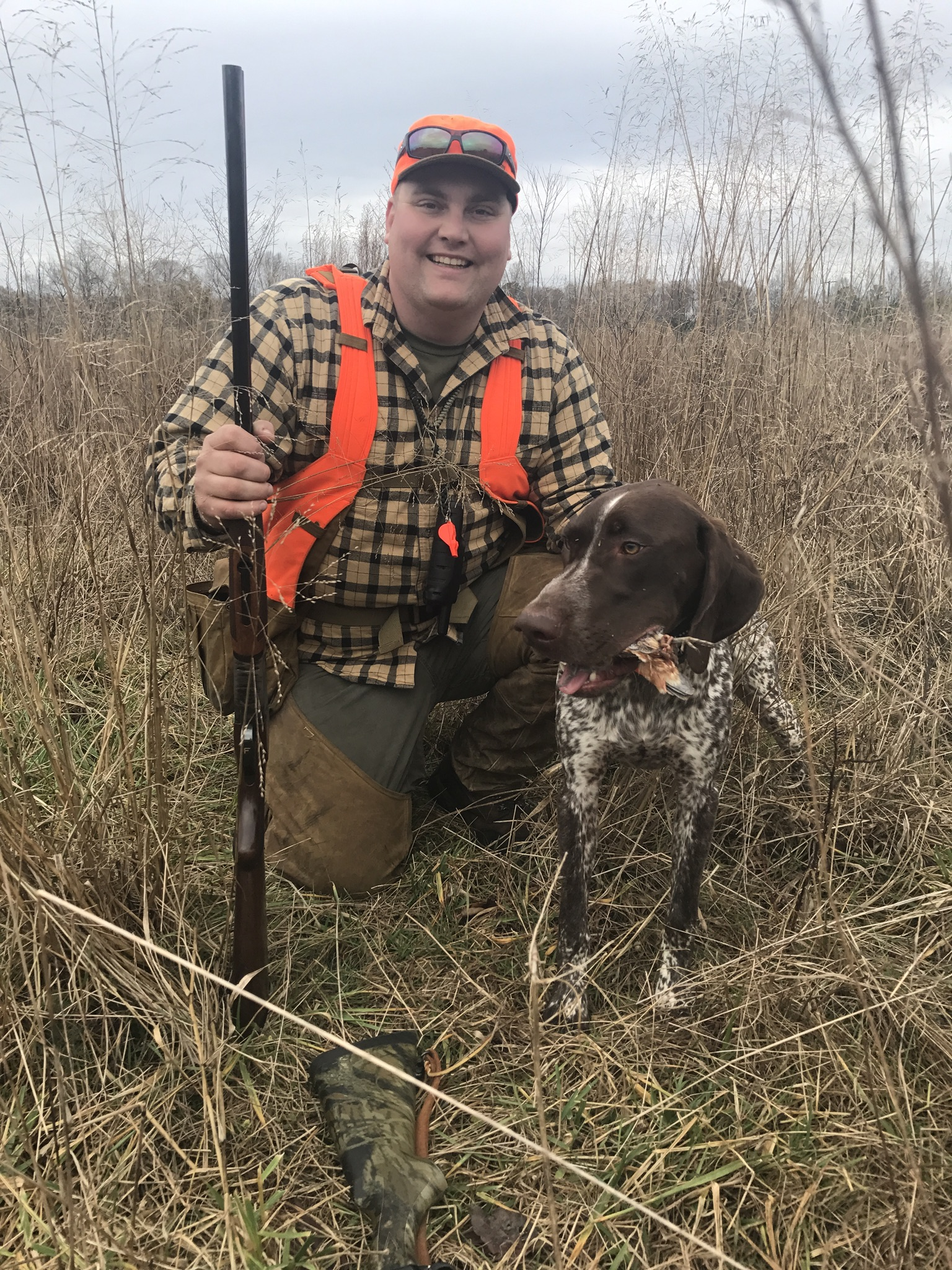 Jackson and I after getting our first Wild Virginia Quail.