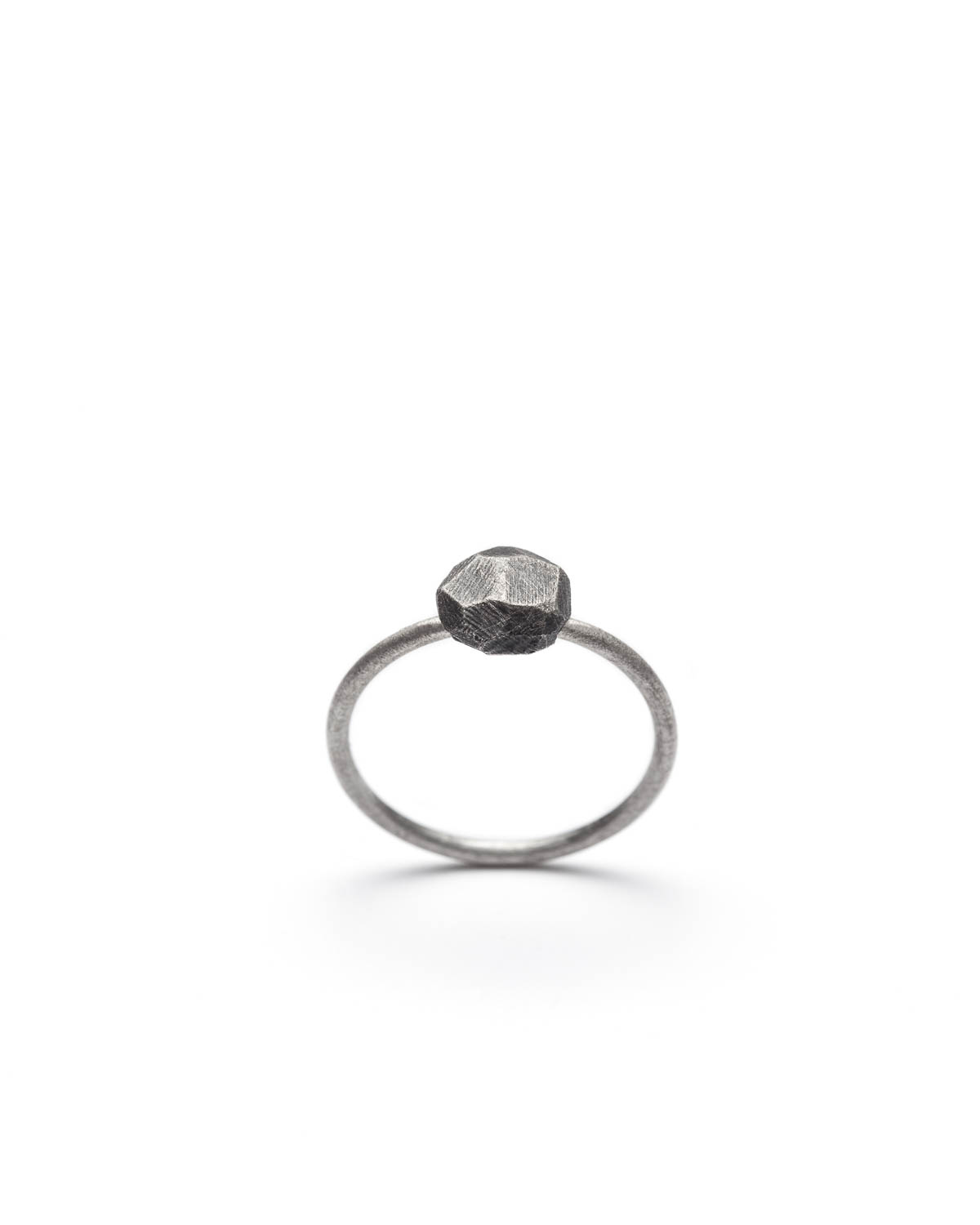 minimalist oxidized silver ring from Texture line