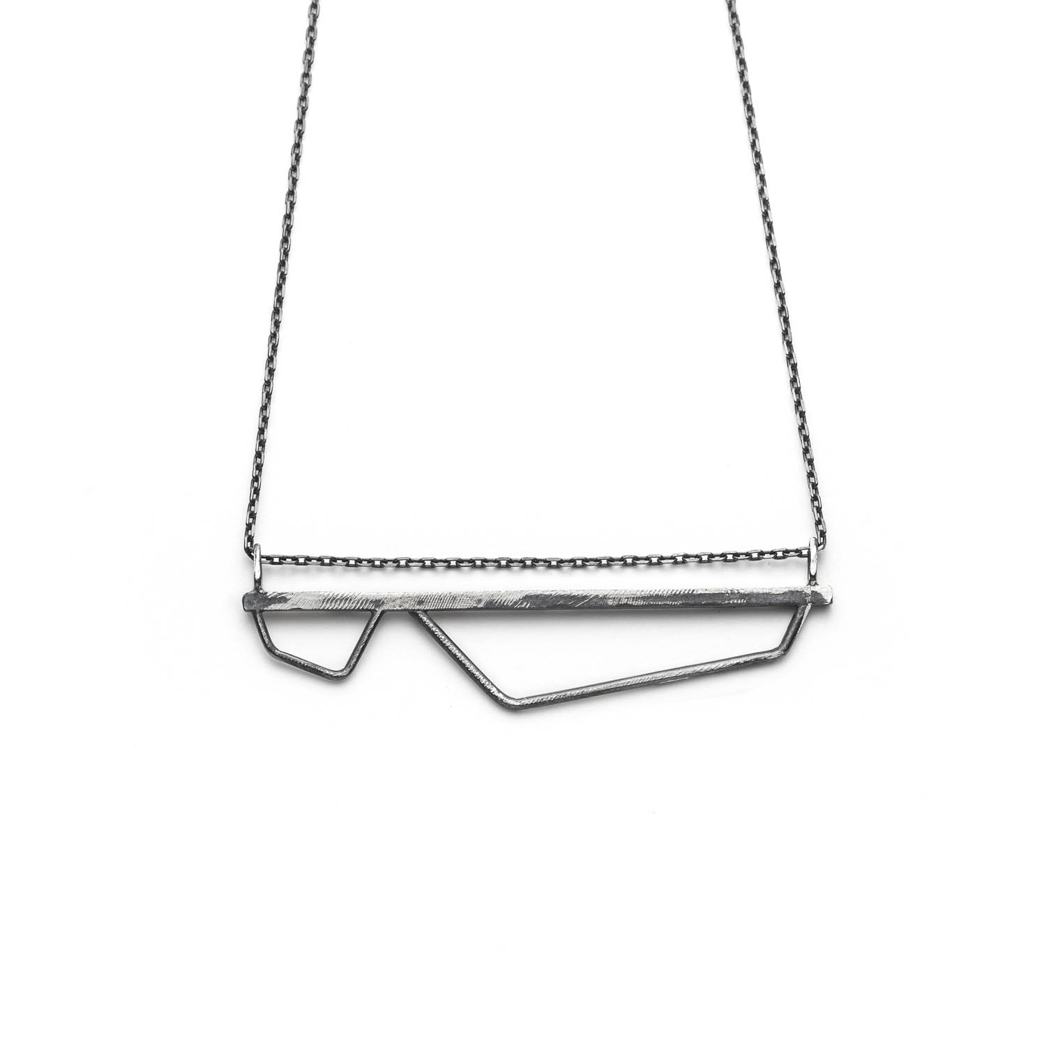 minimalist and geometric jewelry. sterling silver V bar necklace from Angle line