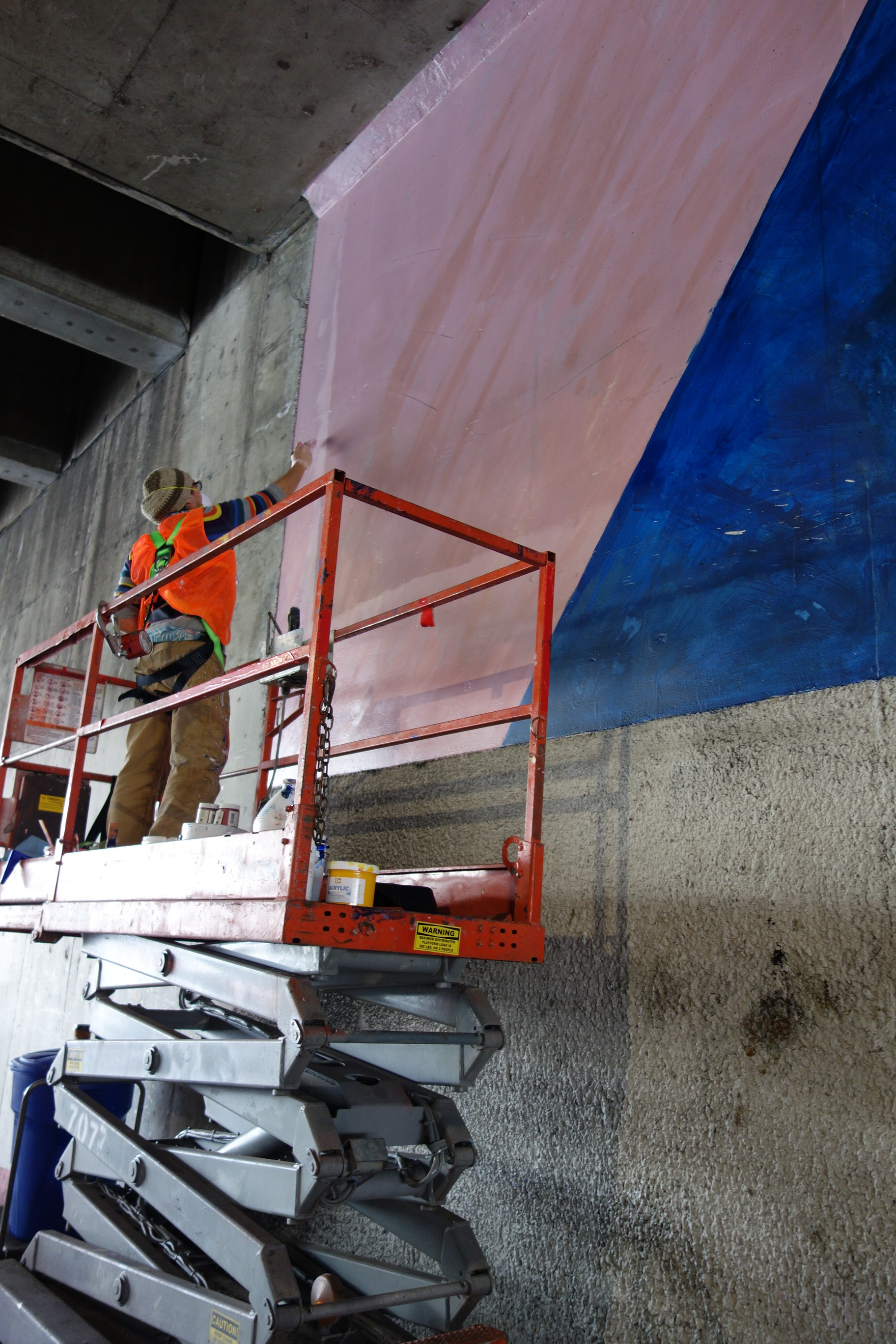 Mural restoration for the city of Los Angeles. Original artwork by Alonzo Davis.