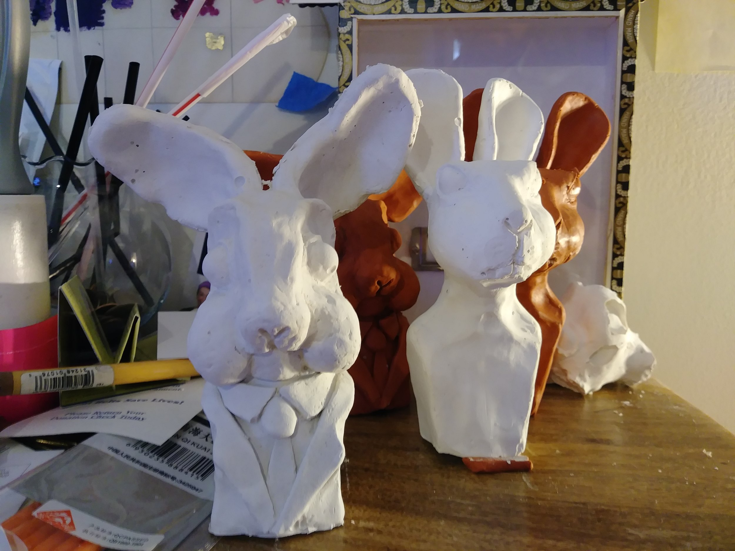 Tests casts for chocolate Easter bunny molds.
