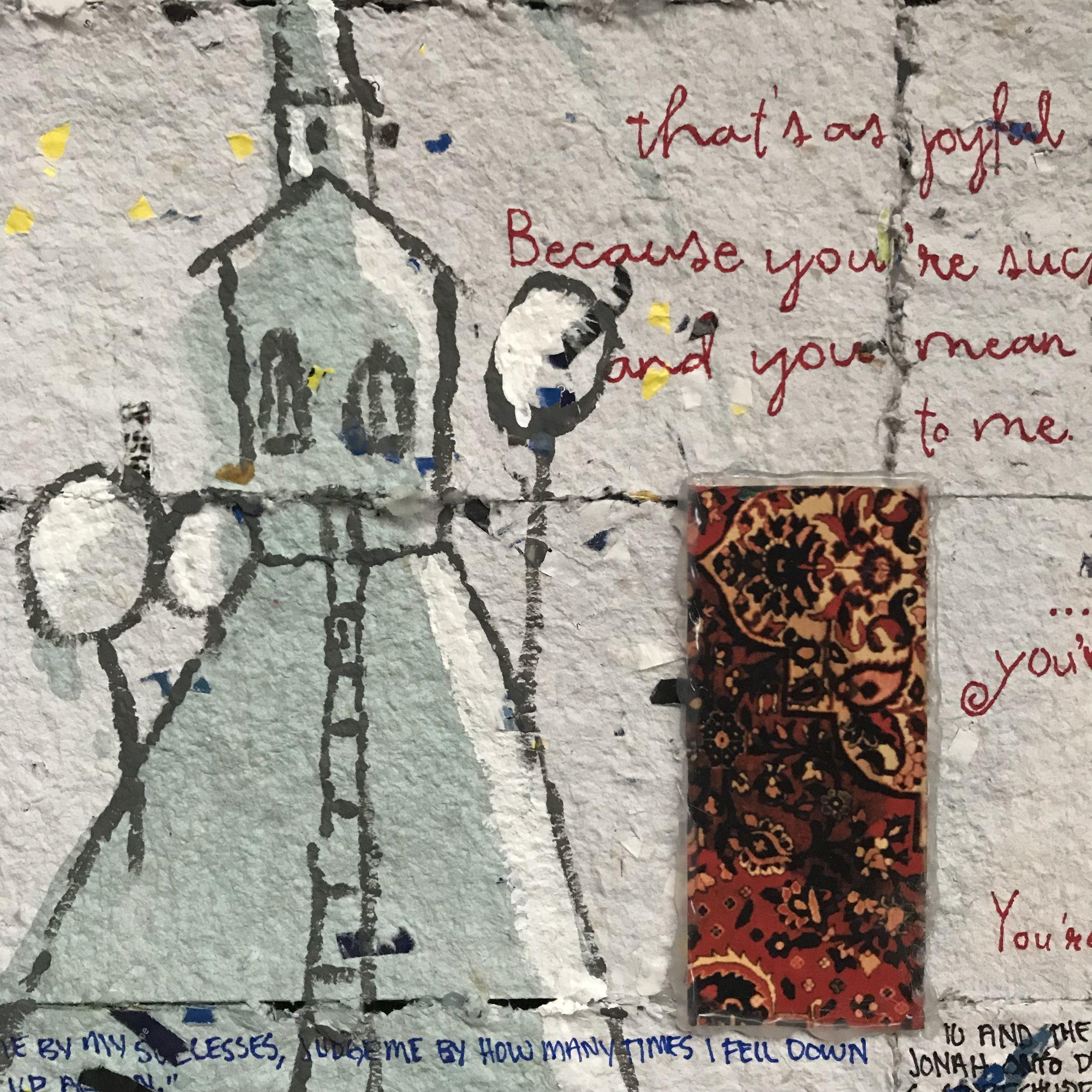 "Detail of ""April 2014"" by Sherrill Roland.Medium: ArtForum International Apr. Issue 2014, Toilet Paper, Legal Paper Pad, Primer Paint, Kool-Aid, Sharpie Marker."