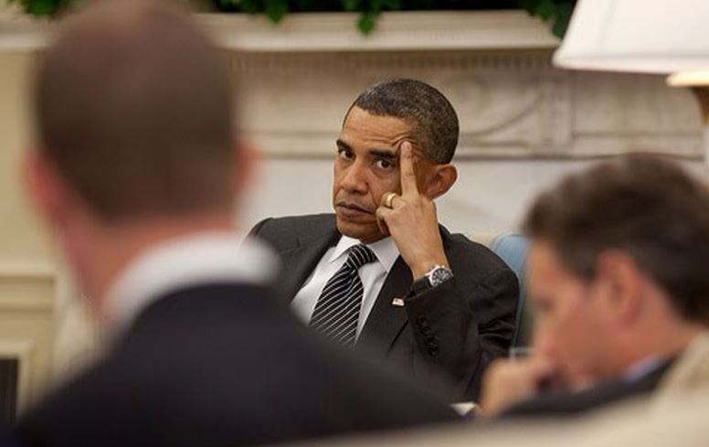 Like the other democrat, Obama is subtle giving America the bird during a 2011 meeting with senators...