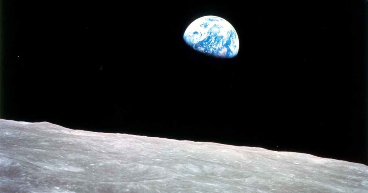Earthrise from the Lunar surface