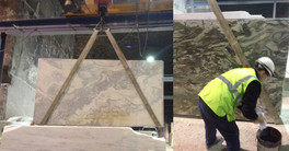 Wetting the slab to determine the colour of the finished product.