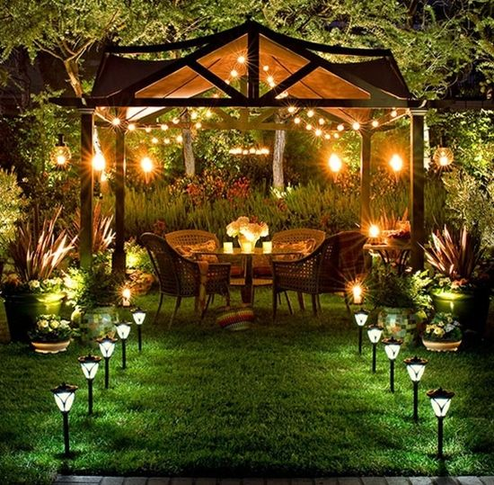 Mix up solar panel lights with softer lighting