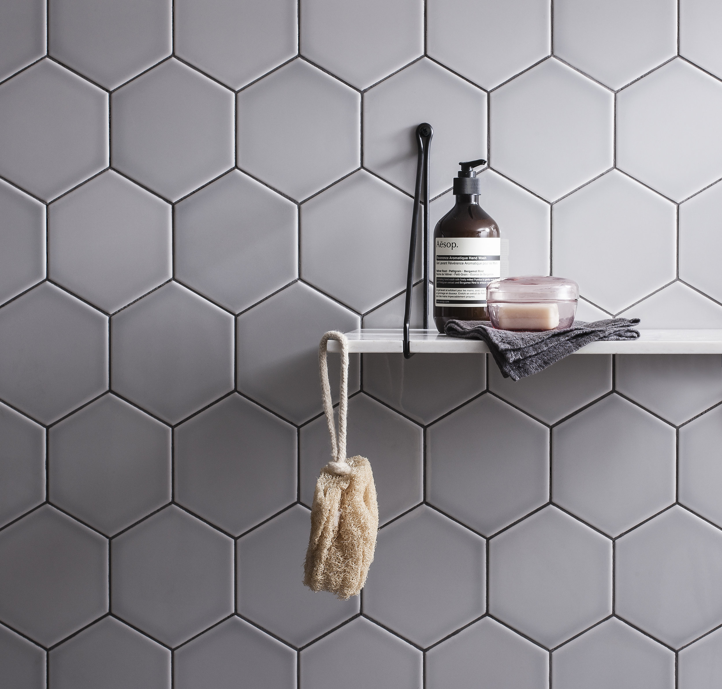 3. Hexagon tiles - Ideal for creating variable patterns, Hexagon tiles are the current bathroom must-have! Shape things up with these Savoy Hexagon tiles from Gemini.
