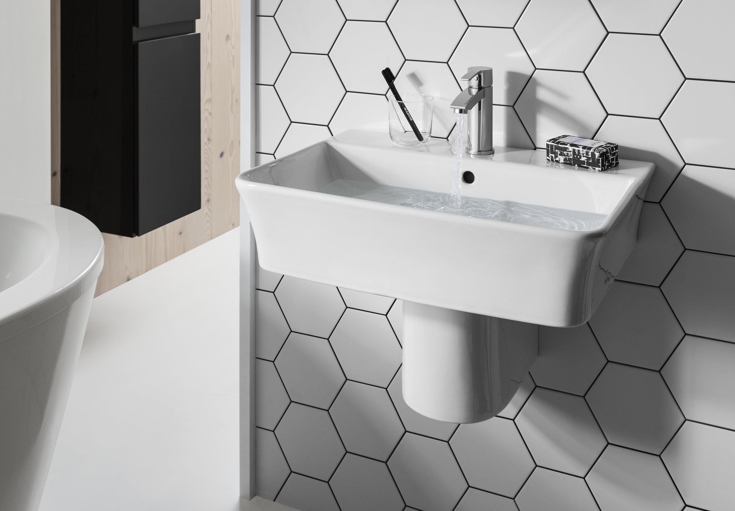 6. Keeping it elegant - This semi pedestal washbasin from Britton Bathrooms is perfect for a creating a modern, minimalist bathroom.