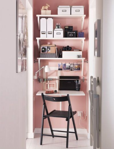 Make the most of your space. - If you've got the height, use it!Image via Workspace Goals on Pinterest.
