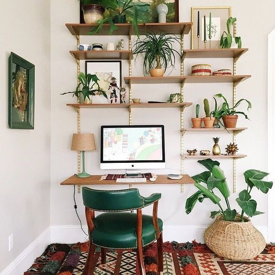 Shelves, shelves and more shelves! - You really can't go wrong with too many shelves.Image via Workspace Goals on Pinterest