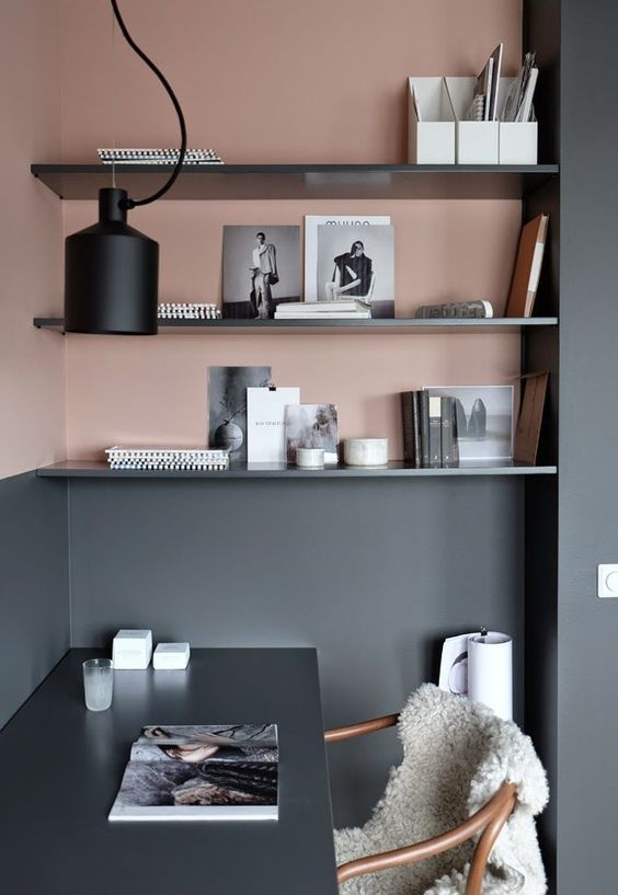 Tuck into corners. - Make the most of every bit of wall space and use those corners wisely!Image via Workspace Goals on Pinterest