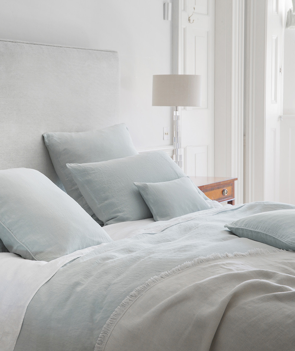 The Linen Works - The Linen Works are renowned for their super soft, luxurious linen bedding made from 100% European linen. Their collection features a neutral colour palette, our favourite being the soft shade of moustier duck egg that stands out against the tonal greys and moody blues. Each bed linen set is finished with mother-of-pearl buttoning for added luxury. Priced from £150 for a single duvet cover.www.thelinenworks.co.uk