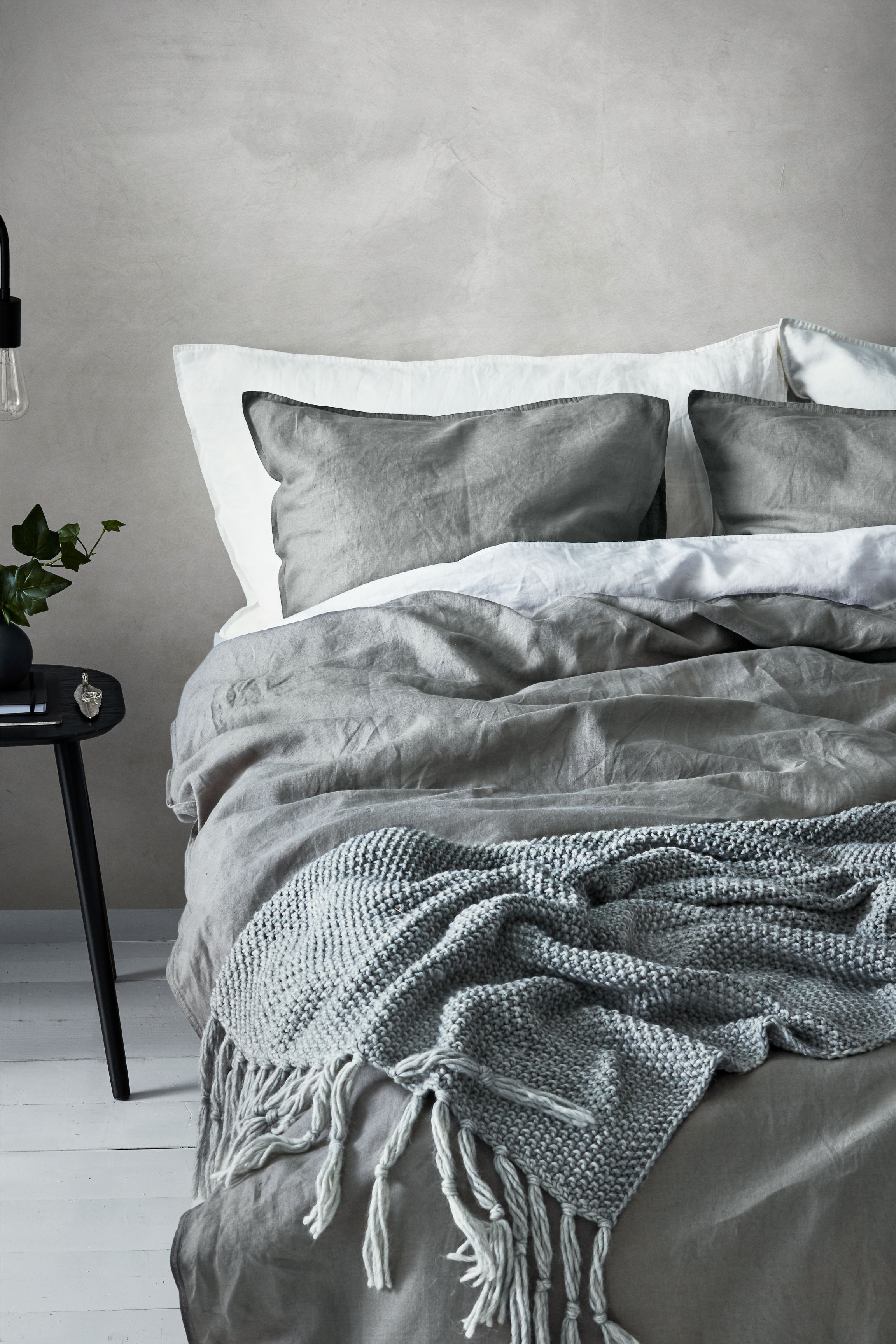 H&M Home - H&M Home's selection of linen bed linen is amazing value and a wonderful way of embracing the trend if you're on a bit more of a budget. The linen is washed for softness with double-stitched edging on all seams and a thread count of 104. The range is available in a variety of sizes and colours, including classic white, dusky green and different shades of grey. Prices start at £59.99.www.hm.com