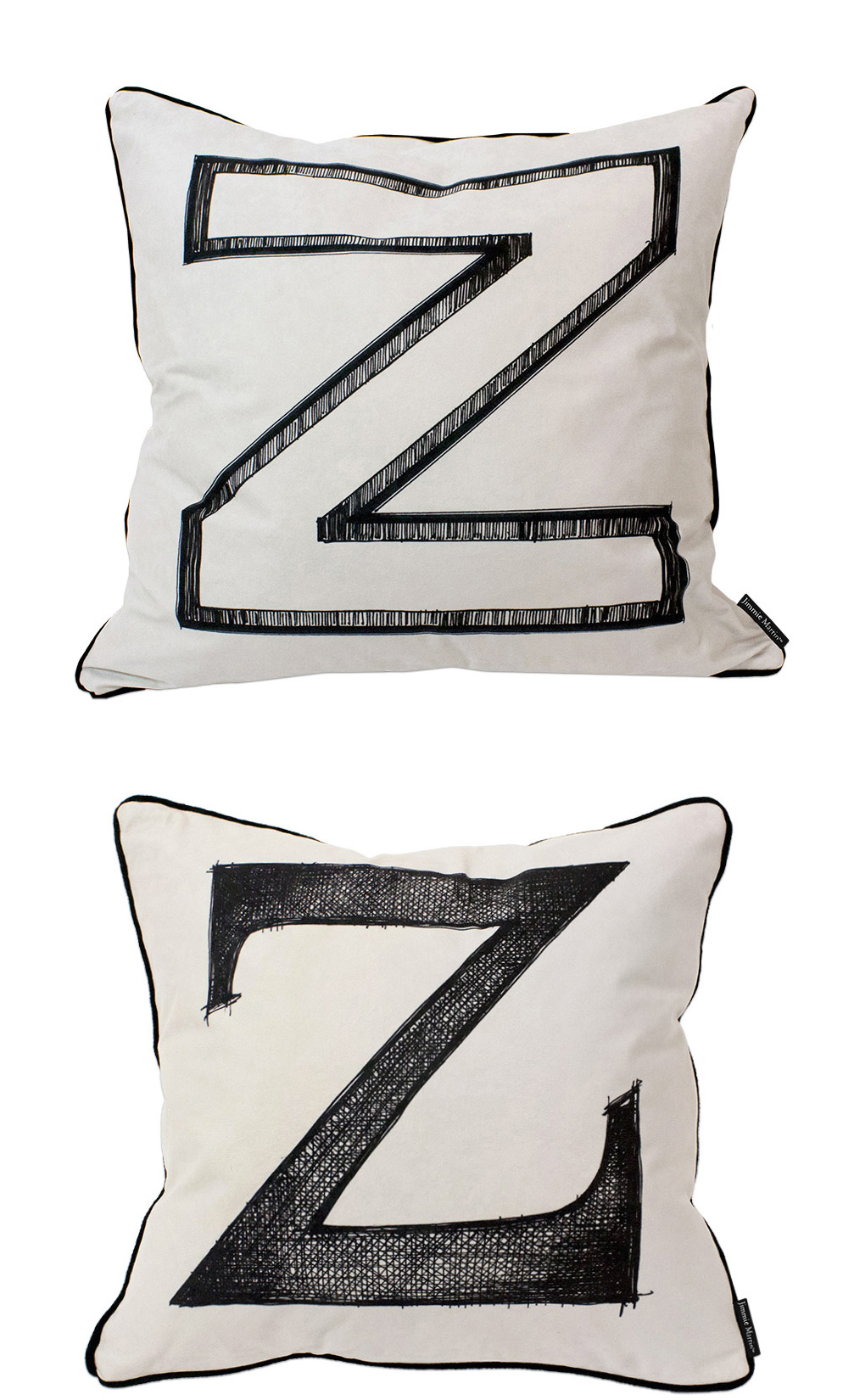 Jimmie Martin Z cushions - Designed using original Jimmie Martin art work, these bold graphic cushions are packed full of 'Baroque n' Roll' style.From £95.00Available at www.jimmiemartin.com