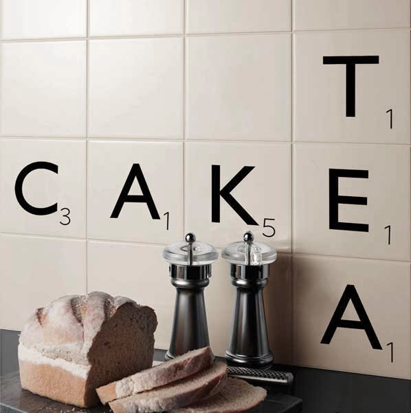 White Scrabble Tiles - Express yourself through words with these eye-catching tiles, perfect for spelling out names, phrases or even film quotes!100x100x6.5mm - £8.25 per tileAvailable at www.wallsandfloors.co.uk
