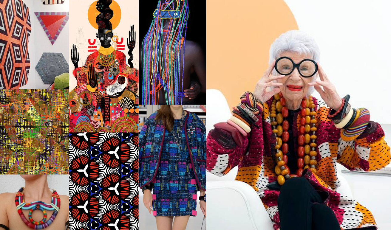 Urban Tribe - Geometrics feature heavily in this global pattern trend. It's been on the radar for years with fashionistas like Iris Apfel, but is it about to go mainstream in 2018? We hope so!Images via patternbank.com