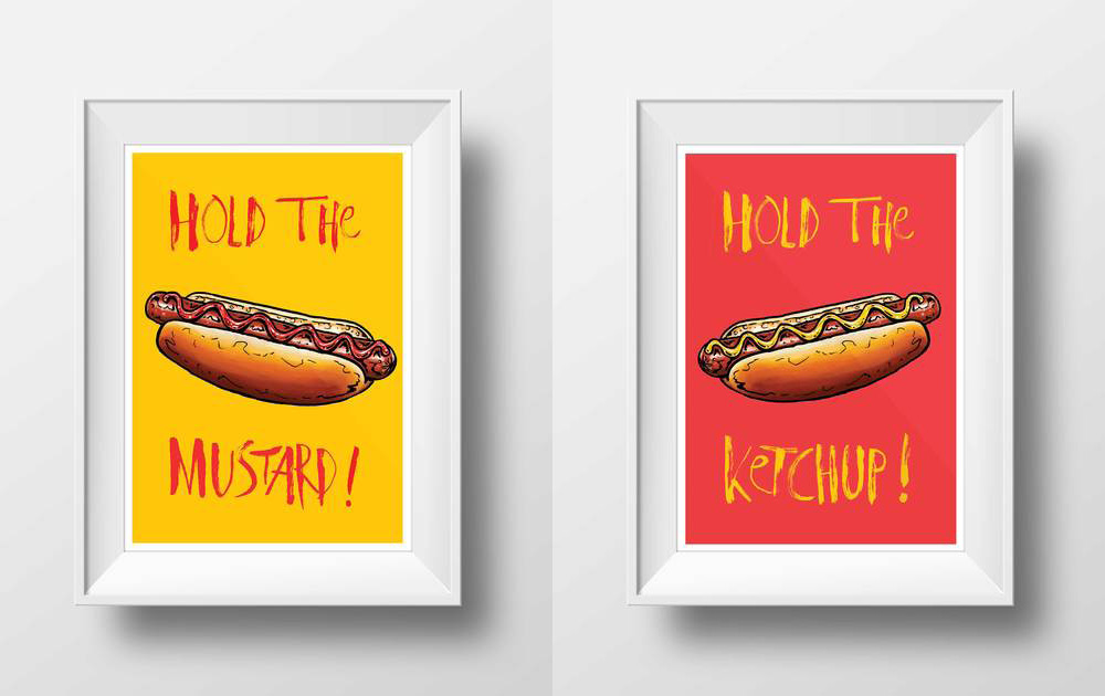 Hold the Ketchup! & Hold the Mustard! - by Tom HoveyA set of two hot dog prints to for those households that can't agree on the perfect topping to their dogs. 'Hold the Mustard!' and 'Hold the Ketchup!' look beautiful on their own but work perfectly together just like ketchup and mustard on your hot dog. You may recognise the style from Tom Hovey's illustrations for the BBC's Great British Bake Off!from £10 eachwww.tomhovey.co.uk