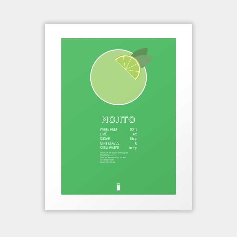 Mojito Cocktail Recipe Poster - by Jazzy PhaeAlways have everyone's favourite summer cocktail recipe at hand with this wonderfully bold graphic poster.from £17www.society6.com