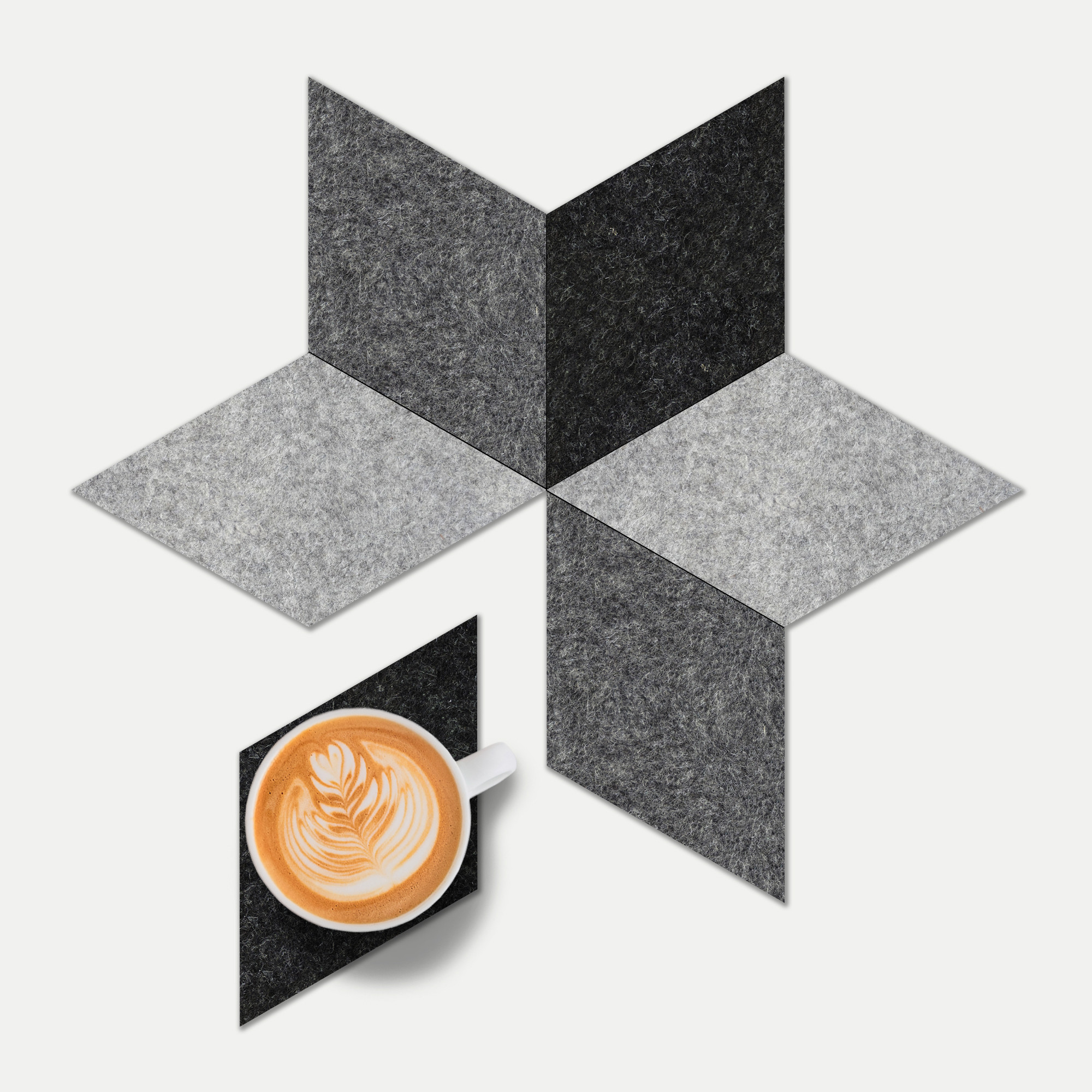 Star Set - A versatile six piece coaster set, made from shades of premium grey felt. This 3D effect adds a unique and modern feature to your coffee table.£16.00 for 6Available at www.geometrico.co.uk