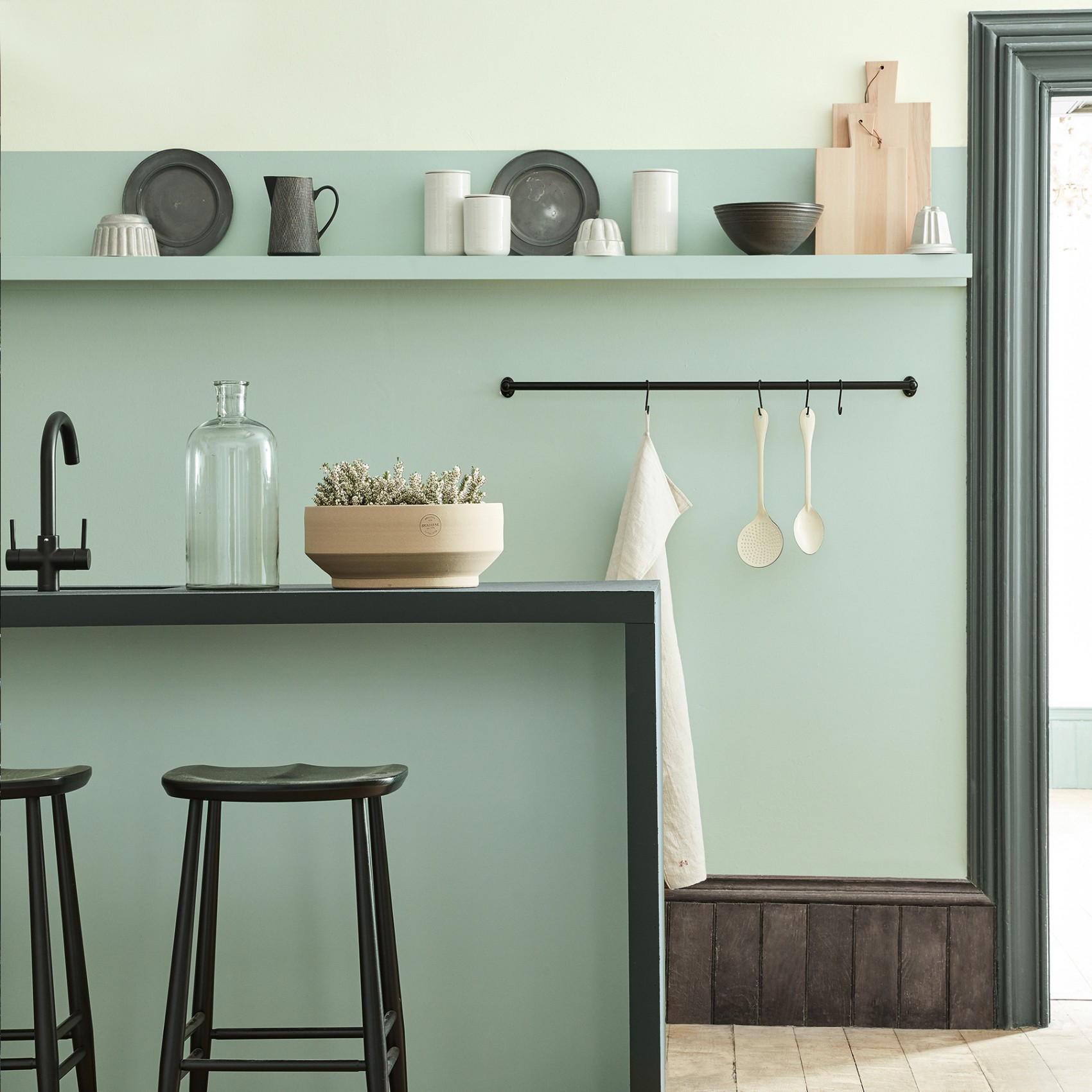 5. Little Greene - Aquamarine - Last but by no means least is the lightest of our paint picks, Little Greene's Aquamarine. A playful and light-hearted shade, the cool minty-ness of this colour evokes a sense of tranquillity that lends it wonderfully to functional spaces such as kitchens and bathrooms. The introduction of blue / green undertones ensures that it doesn't fall into the sickly sweet category, making it the perfect partner for contemporary spaces. We suggest combining an Aquamarine painted wall with dark woods and black contrasting accents, offset with shades of putty pink and off white.£47.00 for 2.5L Intelligent Matt Emulsionwww.littlegreene.com
