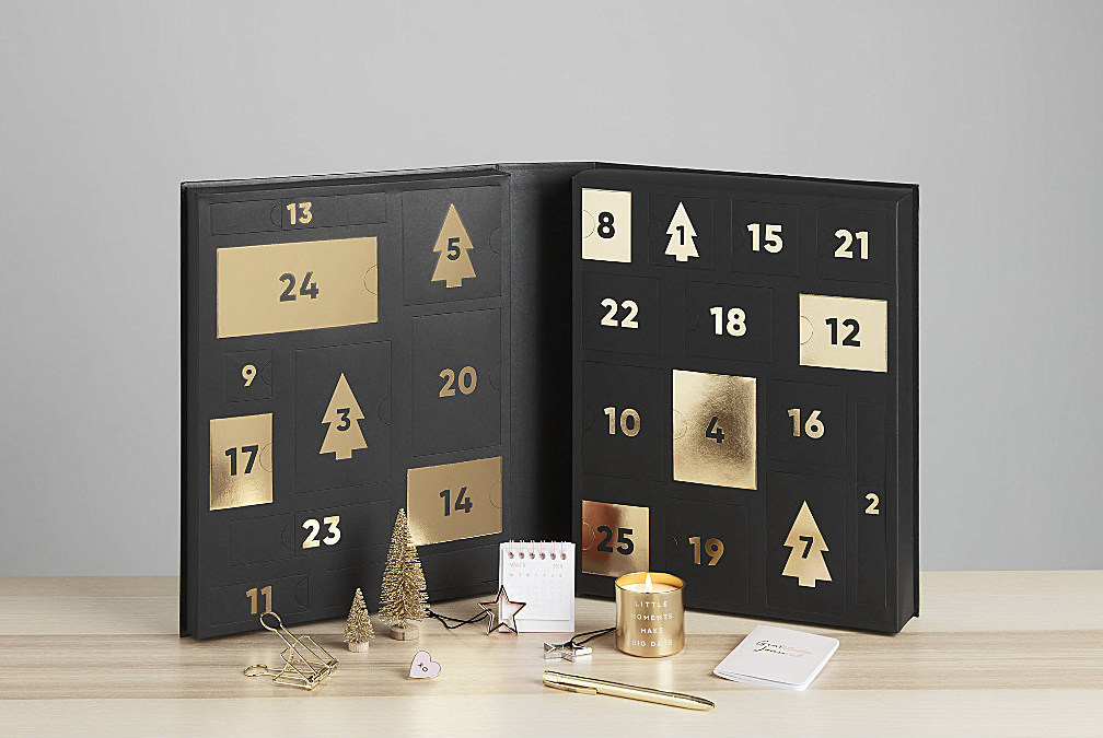 Say it with love - Stationery lovers everywhere, this one's for you. Swedish label kikki.K has designed a chic advent calendar filled with goodies, ranging from a blush-pink pen to gold desk accessories, and even a scented candle to create a little desktop ambiance. With a suitably Scandi black and gold aesthetic, this calendar deserves pride of place in your home. Buy it for yourself here at £90.