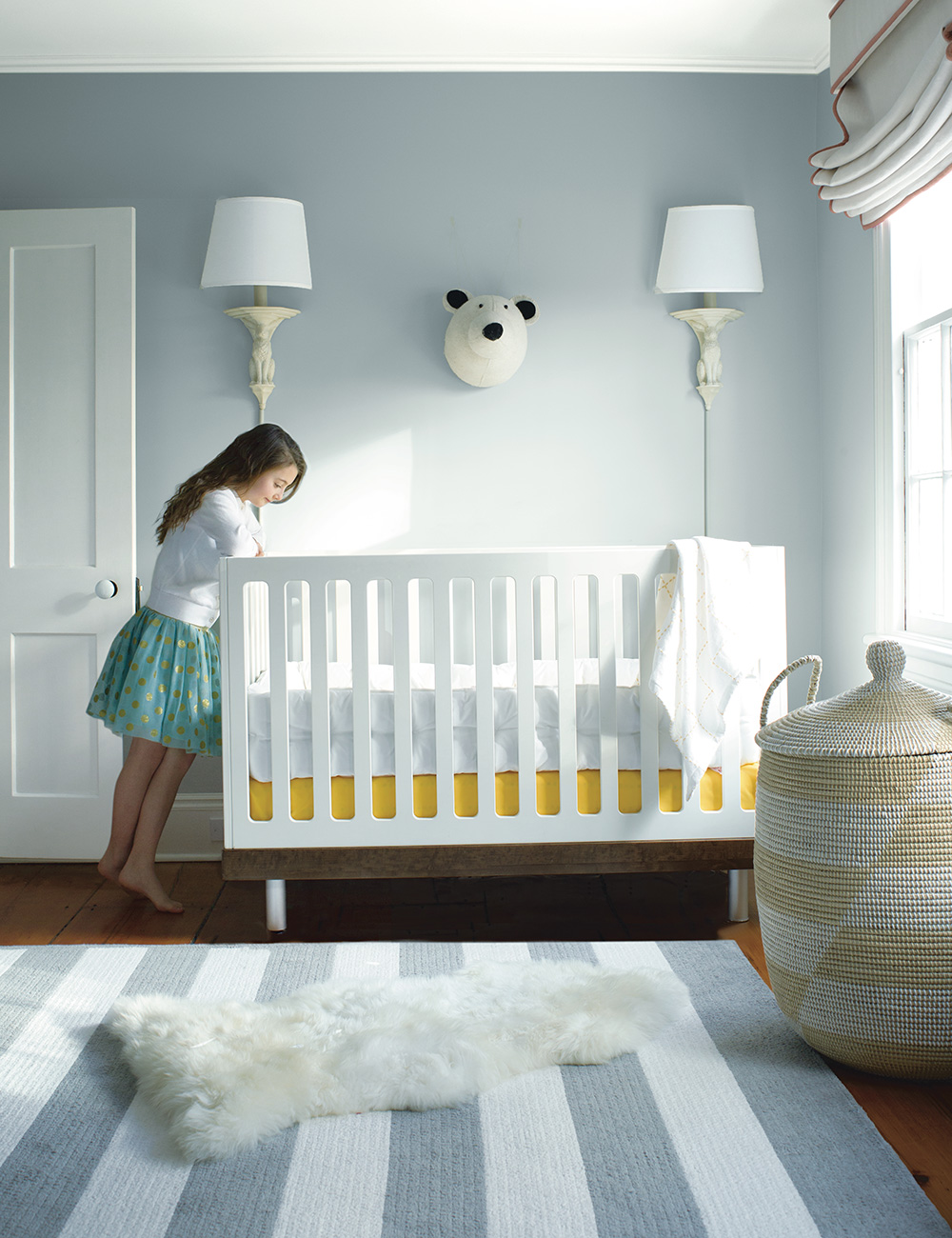 Soothing paint tones - You can't beat a splash of calming colour to relax your baby. We love Benjamin Moore's Bunny Gray paint – part of the Colour Preview collection, this bold, saturated choice will bring any child's space to life, creating a pure, extraordinary look. Plus, to keep your family safe, the Natura paint is emission-free and better for the environment, as well as asthma and allergy-friendly, without compromising on performance. To learn more, visit www.benjaminmoorepaint.co.uk
