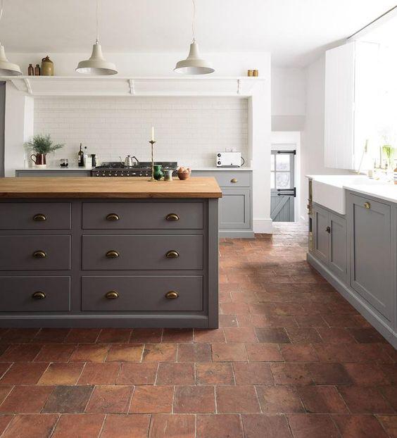 Dark Kitchen Units and Tarracotta Tile Floors.jpg