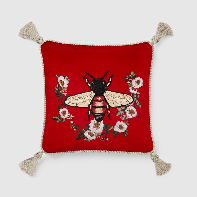 Velvet Cushion with Bee Embroidery