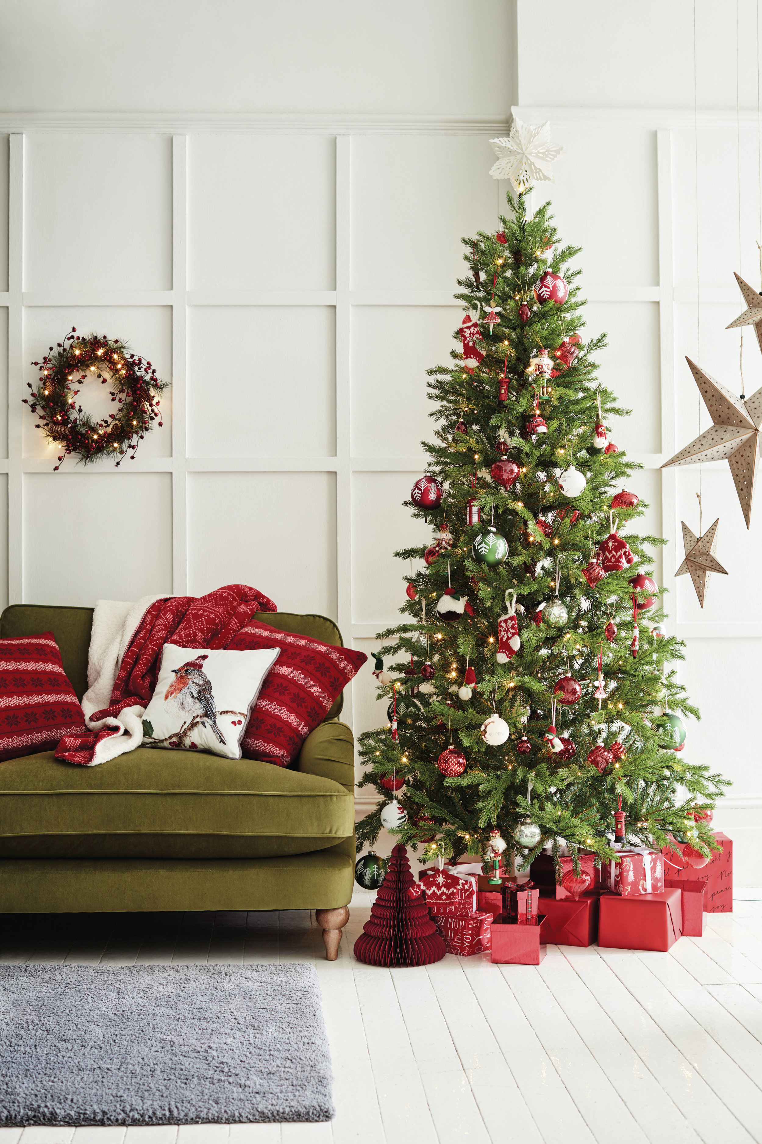 Classic & Traditional - The traditional Christmas decoration scheme will never go out of style. A combination of red, gold and green decorations is all you need to create that classic Christmas feeling. Here are some of our favourite traditional Christmas decorations. Image: Marks & Spencer