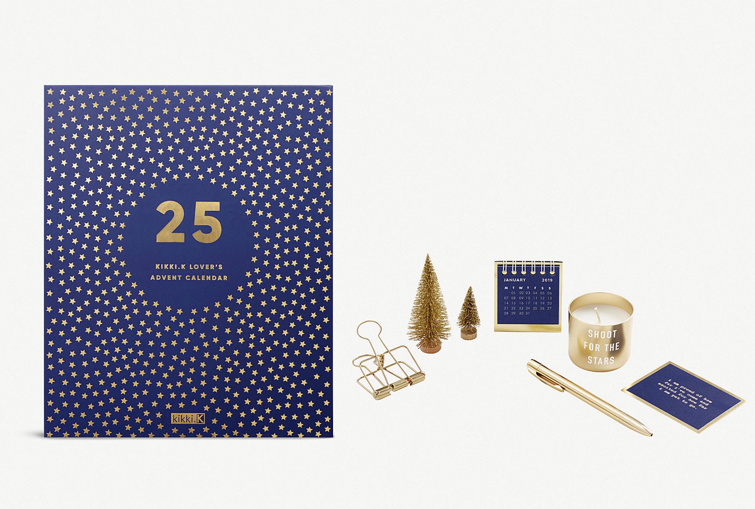 Stationery Lover's Advent Calendar from Kikki K - Available at Selfridges, Swedish label Kikki.K's advent calendar is a stationery lover's dream with star-covered pens, mini candles and notepads waiting behind the midnight blue doors.£90.00