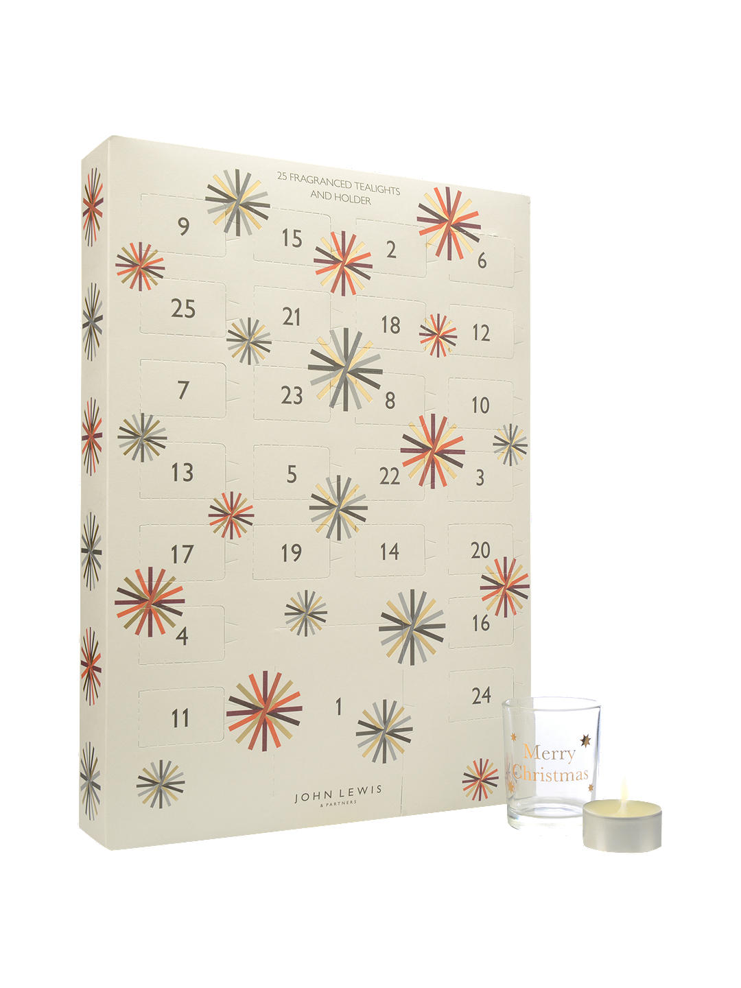 John Lewis & Partners Christmas Advent Tealight - Containing 24 seasonally scented candles, this advent calendar from John Lewis & Partners will keep your home smelling divine throughout the countdown to Christmas.£25.00