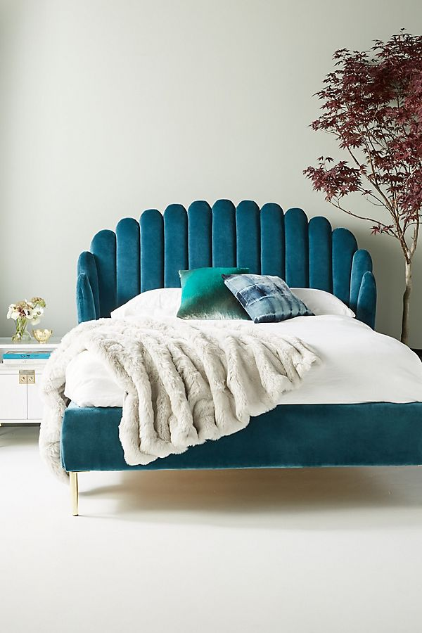 VELVET BEDS & HEADBOADS - Nothing looks quite as inviting as a bold velvet bed with layers of luxurious bed linen. Although Bethan Grey's collaboration with Anthropologie has well and truly stolen our hearts, there's no shortage of velvet beds out there worthy of our affections.Anthropologie Bethan Gray Feather Collection Bed: £2098.00